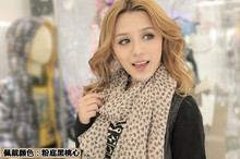 Factory direct supply thin little heart pattern pink cute black lovely scarf