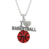 Wholesale Zinc Alloy Rhodium Plated Crystal I Love Basketball Pendant Chain Necklace