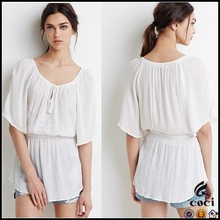 CCD005 Women White Crinkled Embroidered Peasant Dress