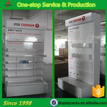 Hot sale stylish led lighting tier wood display stand, surpermarket shelf, store shelf