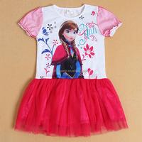 (HT125#) children summer cotton dress frozen clothes baby girl dress