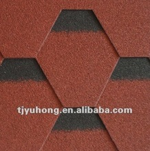 Burning red asphalt shingles