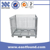 Forklift security metal cage wire mesh storage pallet box with heavy duty
