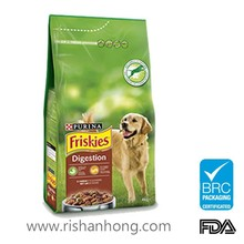 Bottom gusset Plastic pet food pouch with top resealable ziplock