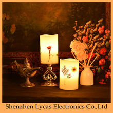 Rechargeable butterfly and flowers pillar flameless LED candle
