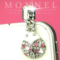 IP18-1 MONNEL 2015 Fashion New Mobile phone Accessory Silver Crystal Ladybug Charm Cell Phone Anti Dust Ear Cap Plug