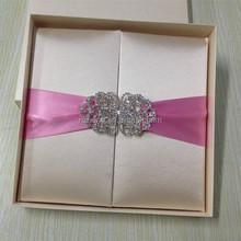 top grade royal luxurious doc silk wedding invitation card with silk box