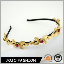 Popular design wholesale fashion red crystal metal flower hair alice band 2015