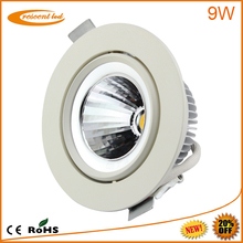 2014 project designed,Epistar, Bridgelux,cut out80,85,90mm,PF0.9,CRI80,10w,230v 240v,dimmable cob 9w rgb led downlight