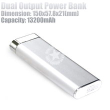 13200mAh Portable Power Bank Charger with Dual USB Output Made in China - Silver