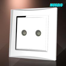 2015 NEW design BS standard 1 gang TV and satellite socket PC wire drawing panel wall socket