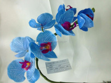 2015 New orchid flower handmade fabric flowers real touch blue orchid flowers
