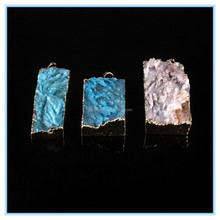 2014 Fashion Necklace Druzy Pendant Connector,Natural Stone Pendants Wholesale