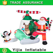 300cm Long Animated Santa PENGUIN and reindeer on Helicopter Christmas Airblown Inflatable Yard Decor