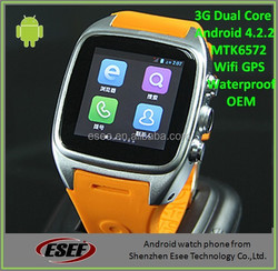Cheap factory price waterproof android 4.4 OS with play store android watch mobile