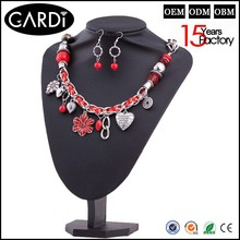 2014 fashion jewelry heart and flower shape necklace chain types