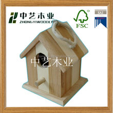 New design unfinished wooden bird house wholesale cheap indoor decorative bird houses