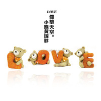 Zakka resin bear with Yellow collar Looking at the sky LOVE Series anime party decorations