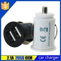 Logo Customized 5V 2.1A Dual USB Cellphone Car Charger for iphone 5 samsung s3 s4