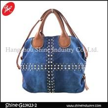 fashion style handbag studded satchel bag with four rivets on the bottom