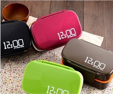 HOT Fun Life 12:00 It's lunch time Japan style double tier Bento Lunch Box,Large meal box tableware Easy-Open microwave oven