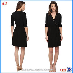Girls Without Shopping Clothes Ladies Western Dress Designs Fashion Custom Black Adjustable Sleeve Dresses