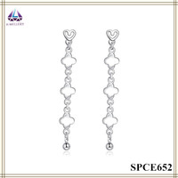 Women Accessories Silver Plating Long Pendant Earring With Ball