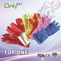 ISO/CE approved Colorful Flock lined latex household gloves/rubber kitchen cleaning gloves