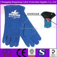 "BC class blue work gloves safety work gloves 14"" cow split leather welding gloves"
