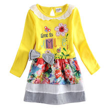 H6641 YELLOW 2-6y 2015 new girl dresses nova kids wear print my little flowers frock kids dress nova kids children dress