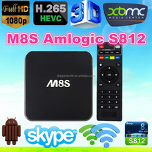2015 New Amlogic S812 2.0GHz H.265 4K BT 4.0 AP6330 Quad Core Android 4.4 Quad Core TV Box ENY EM8S M8S