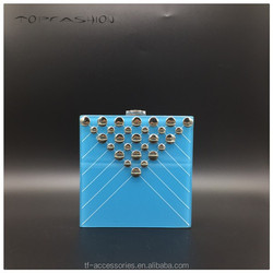 2015 fashion ladies cell phone evening clutch bags rivets women bags turquoise resin clutch bags TFA1630