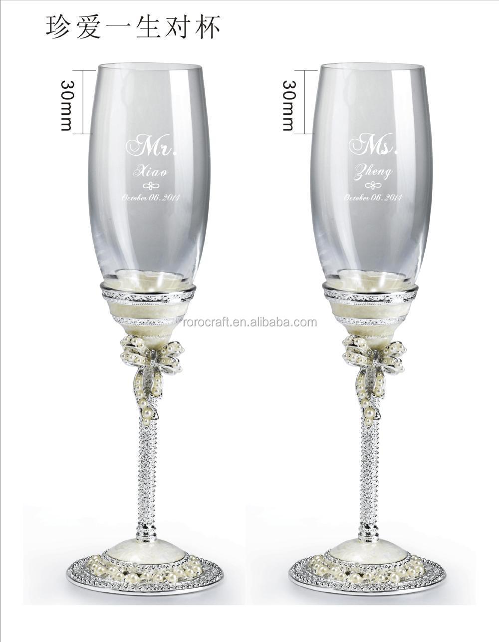 Perle de cadeau de mariage fl te champagne verre de champagne tain artisanat articles pour - Cadeau 10 ans de mariage ...