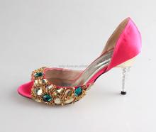 BS911 Custom Handmade Open Toe Fuchsia Rhinestones Two-Piece Wedding Shoes Zapatos Mujer Women Shoes High Heels