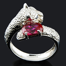 2015 wholesale high quanlity fashion animal 925 sterling silver ruby jewelry ring