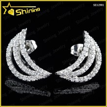 rhodium plated fashion design moon cut cz stud earrings
