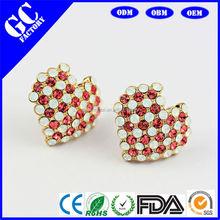 wholesale crystal heart earrings 6 colors E0014