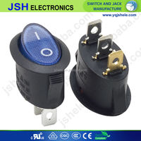 Blue light 120v 12v 3 pins round rocker switch T85