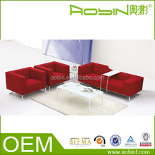 2015 Modish Living Room Furniture Red Fabric Lounge Suites Office Lounge Sofa
