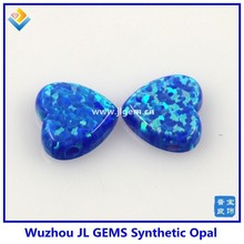 8mm Synthetic Dark Bule Cabochon Heart Opal Gemstone For Weeding Dress Pendant