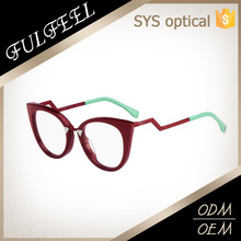 Latest new design mixture color distort temple , cat eyes spectacles frame