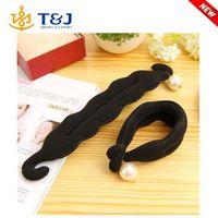 New Fashion DIY Big Pearl Hair Styling Tools Bun Roller Black Barrette for Headwear Hair Accessories for Women
