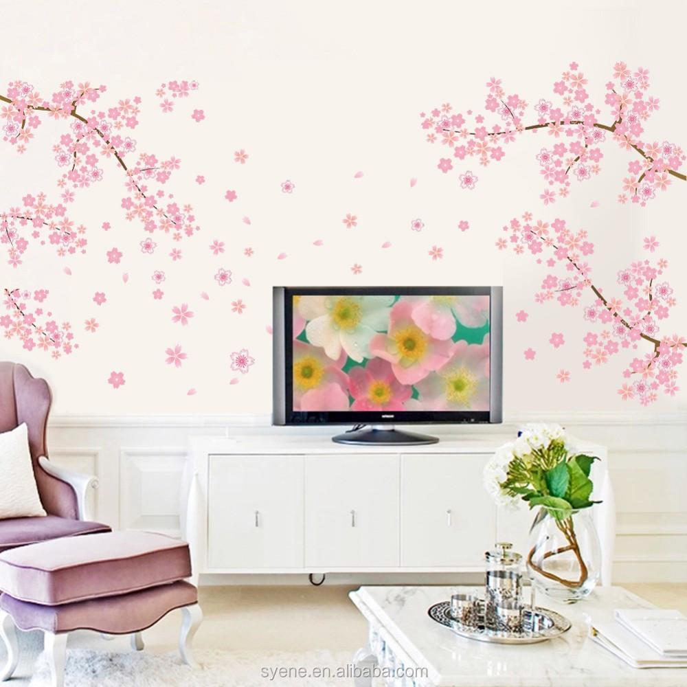 New coreano rosa sakura flor adesivo de parede rvore for Decalque mural