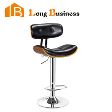 LB-5022 Vintage Industrial Metal Wood Seat Adjustable Bar Stool Chair with Walnut color