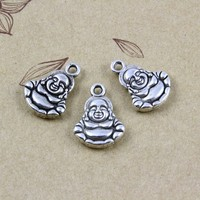 Yiwu supplier wholesale high quanlity antique silver buddha charms pendant 14x10mm
