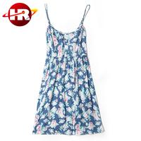 Wonderful flower printed pattern spaghetti strap jean dress for lady girls