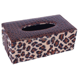 Faux leather Paper Gift Packaging Box Leather Tissue Box