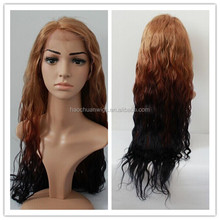 Best quality cheap price three tone color fashion wavy virgin brazilian ombre human hair wig