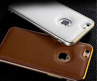 Litchi Bumper Leather Case Metal Frame Aluminium Leather Cover For iPhone 6