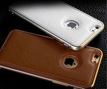 Litchi parachoques Metal funda de cuero marco de aluminio cubierta de cuero para el iPhone 6